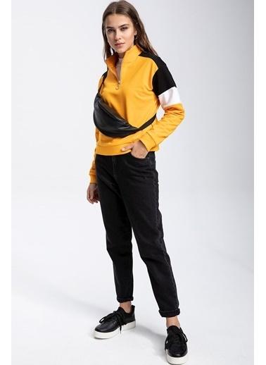 DeFacto Yarım Fermuarlı Renk Bloklu Sweatshirt Sarı